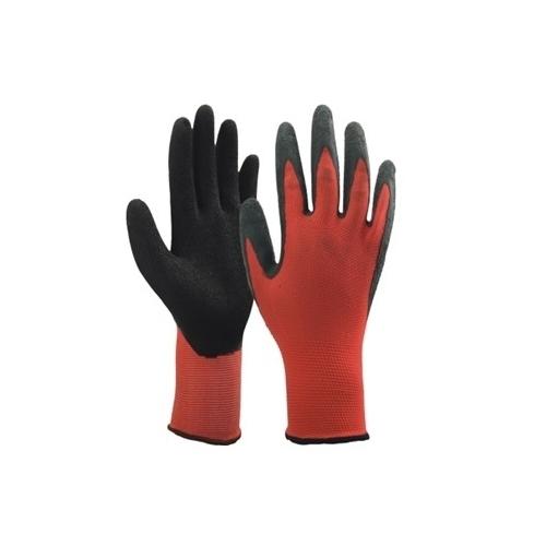 Pirštinės nailoninės aplietos lateksu raudonos 10D