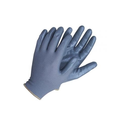 Pirštinės poliestero aplietos nitrilu pilkos 10'